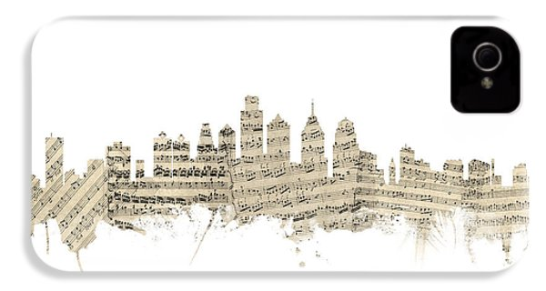 Philadelphia Pennsylvania Skyline Sheet Music Cityscape IPhone 4 / 4s Case by Michael Tompsett