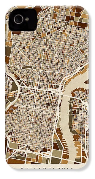Philadelphia Pennsylvania Street Map IPhone 4 / 4s Case by Michael Tompsett