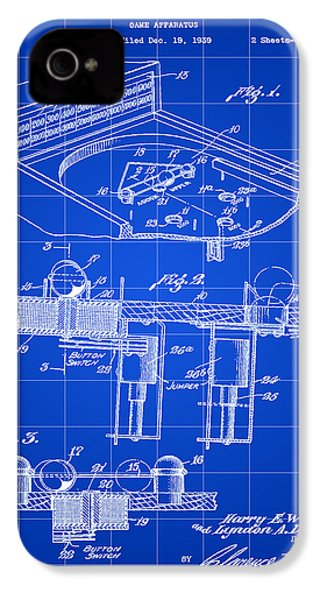 Pinball Machine Patent 1939 - Blue IPhone 4 Case by Stephen Younts