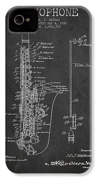 Saxophone Patent Drawing From 1928 IPhone 4 / 4s Case by Aged Pixel