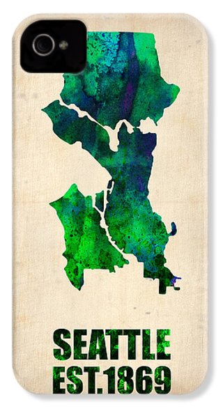 Seattle Watercolor Map IPhone 4 Case by Naxart Studio