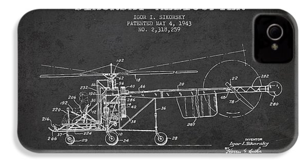 Sikorsky Helicopter Patent Drawing From 1943 IPhone 4 Case by Aged Pixel