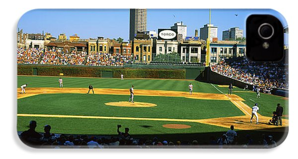 Spectators In A Stadium, Wrigley Field IPhone 4 Case by Panoramic Images