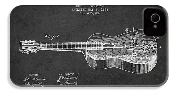 Stratton Guitar Patent Drawing From 1893 IPhone 4 / 4s Case by Aged Pixel