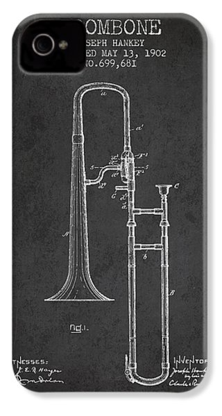 Trombone Patent From 1902 - Dark IPhone 4 Case by Aged Pixel
