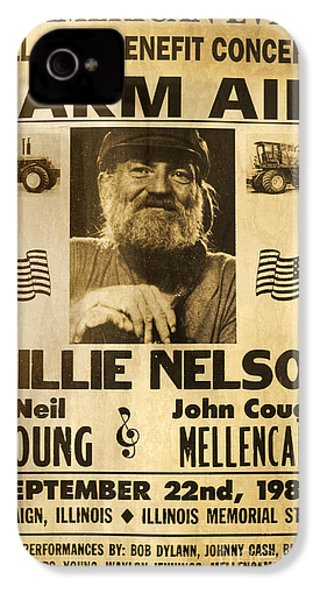 Vintage Willie Nelson 1985 Farm Aid Poster IPhone 4 Case by John Stephens