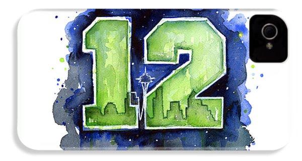 12th Man Seahawks Art Seattle Go Hawks IPhone 4 Case