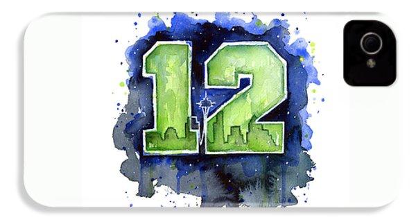 12th Man Seahawks Art Seattle Go Hawks IPhone 4 / 4s Case by Olga Shvartsur