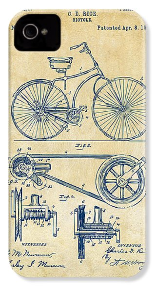 1890 Bicycle Patent Artwork - Vintage IPhone 4 / 4s Case by Nikki Marie Smith