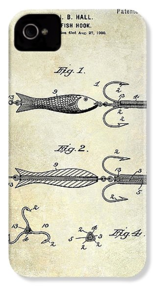 1900 Fishing Hook Patent Drawing IPhone 4 Case
