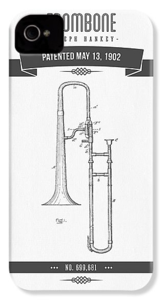 1902 Trombone Patent Drawing IPhone 4 Case by Aged Pixel