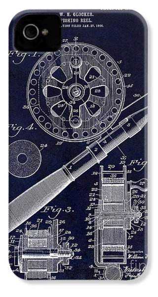 1906 Fishing Reel Patent Drawing Blue IPhone 4 Case
