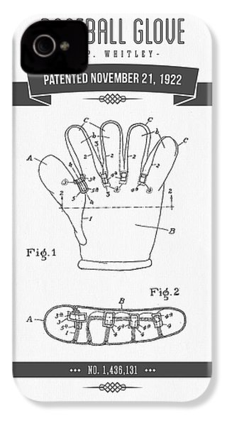 1922 Baseball Glove Patent Drawing IPhone 4 Case by Aged Pixel