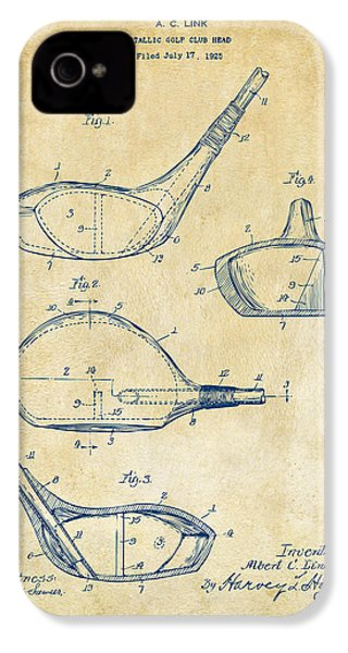 1926 Golf Club Patent Artwork - Vintage IPhone 4 / 4s Case by Nikki Marie Smith