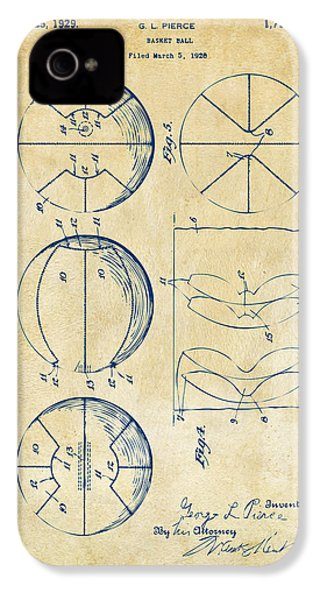 1929 Basketball Patent Artwork - Vintage IPhone 4 Case by Nikki Marie Smith
