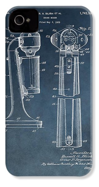 1930 Drink Mixer Patent Blue IPhone 4 Case by Dan Sproul