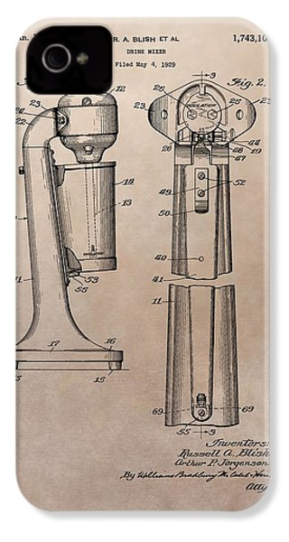 1930 Drink Mixer Patent IPhone 4 Case by Dan Sproul