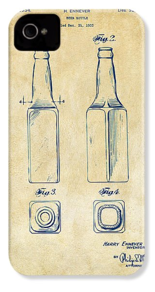 1934 Beer Bottle Patent Artwork - Vintage IPhone 4 Case by Nikki Marie Smith