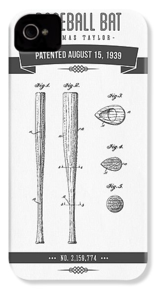 1939 Baseball Bat Patent Drawing IPhone 4 Case