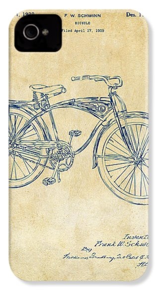 1939 Schwinn Bicycle Patent Artwork Vintage IPhone 4 Case