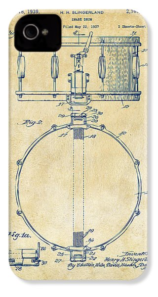 1939 Snare Drum Patent Vintage IPhone 4 Case by Nikki Marie Smith