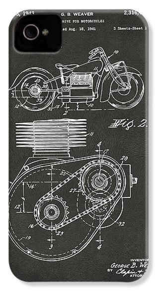 1941 Indian Motorcycle Patent Artwork - Gray IPhone 4 Case
