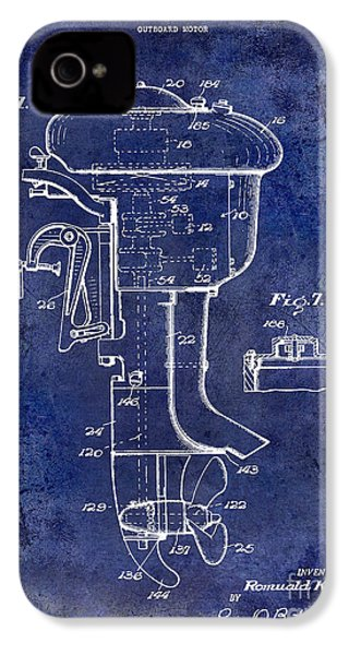 1947 Outboard Motor Patent Drawing Blue IPhone 4 Case