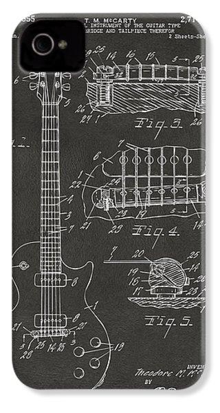 1955 Mccarty Gibson Les Paul Guitar Patent Artwork - Gray IPhone 4 Case