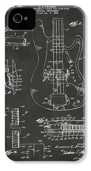 1961 Fender Guitar Patent Artwork - Gray IPhone 4 Case by Nikki Marie Smith