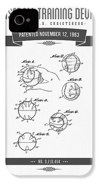 1963 Baseball Training Device Patent Drawing IPhone 4 Case by Aged Pixel
