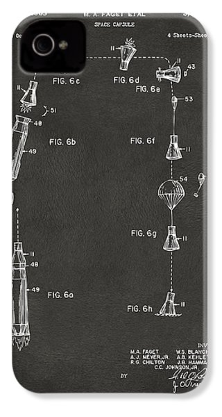 1963 Space Capsule Patent Gray IPhone 4 Case by Nikki Marie Smith