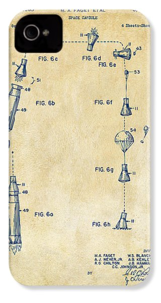 1963 Space Capsule Patent Vintage IPhone 4 Case by Nikki Marie Smith