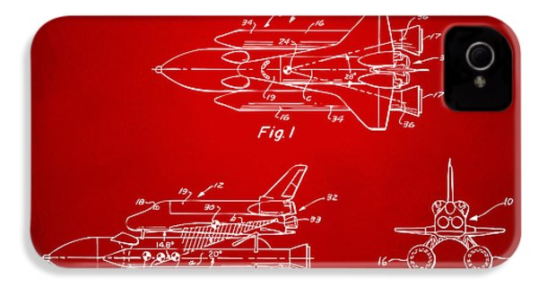 1975 Space Shuttle Patent - Red IPhone 4 Case by Nikki Marie Smith