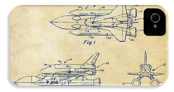 1975 Space Shuttle Patent - Vintage IPhone 4 / 4s Case by Nikki Marie Smith