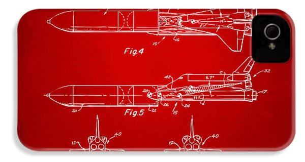 1975 Space Vehicle Patent - Red IPhone 4 Case by Nikki Marie Smith