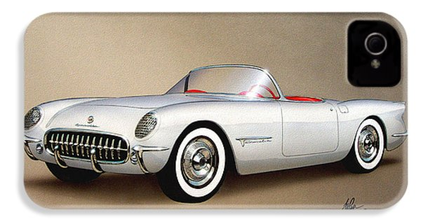 1953 Corvette Classic Vintage Sports Car Automotive Art IPhone 4 / 4s Case by John Samsen