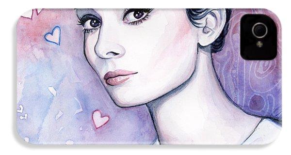 Audrey Hepburn Fashion Watercolor IPhone 4 Case by Olga Shvartsur