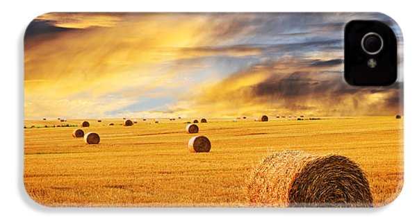 Golden Sunset Over Farm Field With Hay Bales IPhone 4 Case