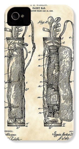 Golf Bag Patent 1905 - Vintage IPhone 4 Case by Stephen Younts