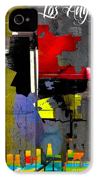 Los Angeles Map And Skyline IPhone 4 Case by Marvin Blaine