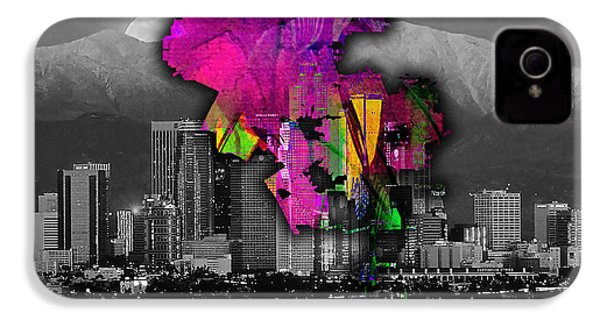 Los Angeles Map And Skyline Watercolor IPhone 4 Case by Marvin Blaine