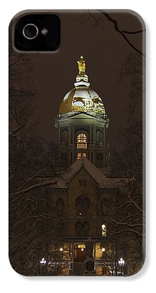 Notre Dame Golden Dome Snow IPhone 4 Case by John Stephens