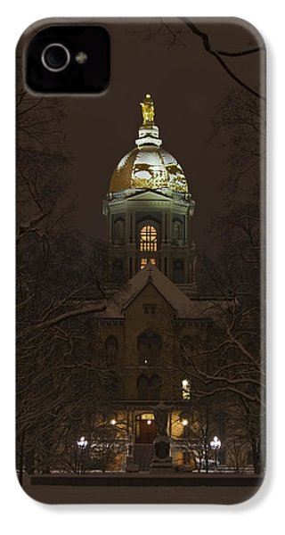 Notre Dame Golden Dome Snow IPhone 4 / 4s Case by John Stephens