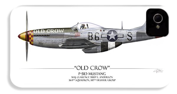 Old Crow P-51 Mustang - White Background IPhone 4 / 4s Case by Craig Tinder