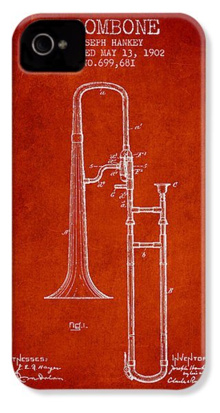 Trombone Patent From 1902 - Red IPhone 4 Case by Aged Pixel