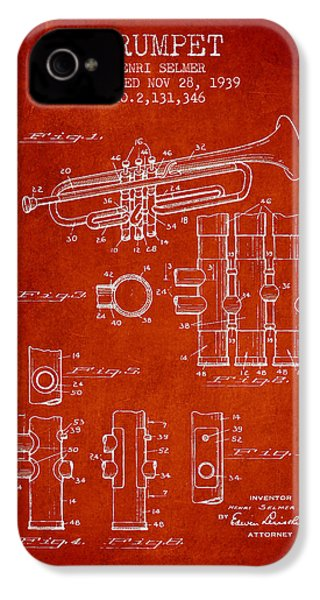 Trumpet Patent From 1939 - Red IPhone 4 / 4s Case by Aged Pixel