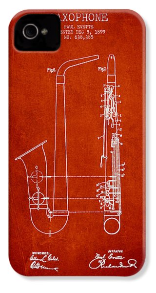 Saxophone Patent Drawing From 1899 - Red IPhone 4 / 4s Case by Aged Pixel