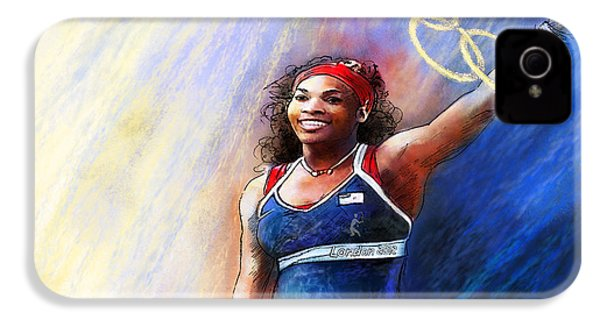 2012 Tennis Olympics Gold Medal Serena Williams IPhone 4 / 4s Case by Miki De Goodaboom