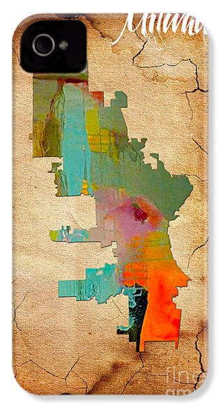 Milwaukee Map Watercolor IPhone 4 Case by Marvin Blaine