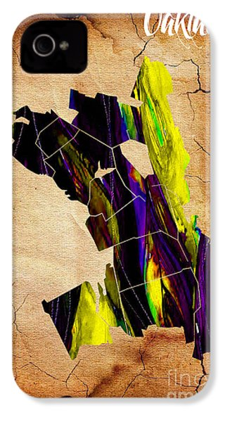 Oakland Map Watercolor IPhone 4 Case by Marvin Blaine